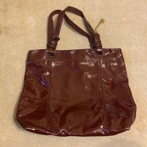 Fossil Burgundy Patent Tote Bag EUC